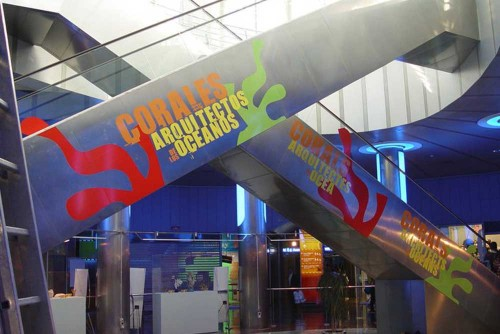 <p>Instalación de vinilo en escaleras mecánicas de L'Oceanografic y en supermercado</p>